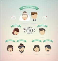 Retro set of wedding icons vector image vector image