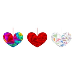 Set poly hearts vector image vector image