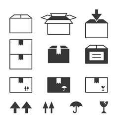 simple set of box and package vector image