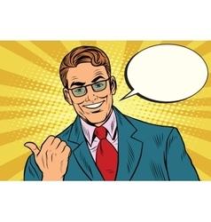 Smiling businessman showing big finger to the left vector image