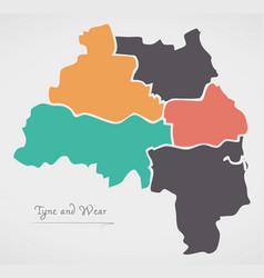 Tyne and wear england map with states and modern vector