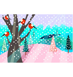 Christmas pattern happy holidays winter landscape vector
