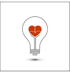 Heart beat in a light bulb vector image vector image