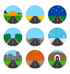 Icons of road landscapes vector image vector image
