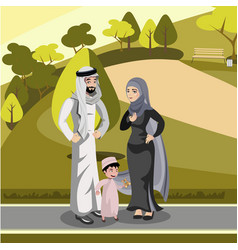 muslim family standing in the park vector image