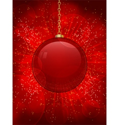 red glass christmas bauble on a glowing red backgr vector image