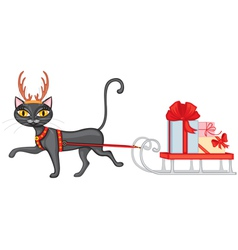 Cat brings gifts on sledge vector image vector image