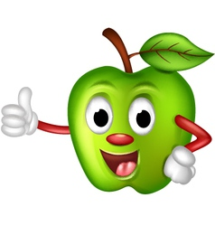 funny green apple thumbs up vector image vector image
