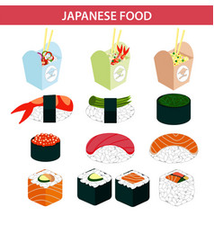 japanese food sushi and seafood sashimi rolls vector image