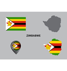Map of Zimbabwe and symbol vector image