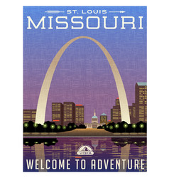 missouri travel poster vector image vector image
