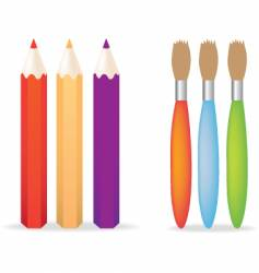 pencils and paintbrushes vector image vector image