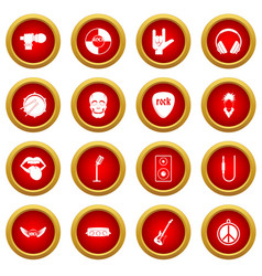 rock music icon red circle set vector image vector image