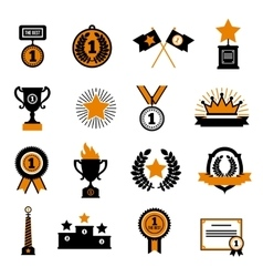 Stars And Awards Decorative Icons Set vector image