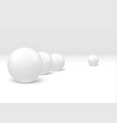 3d realistic white marble balls set vector