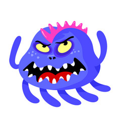 Angry monster with roaring face sharp teeth vector