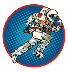 astronaut runs forward round emblem vector image
