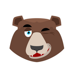 Bear winking emoji grizzly happy emotion face vector