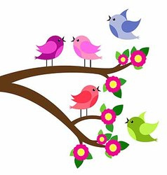 Birds colorful and birdhouse on tree branches vector