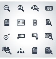 Black job search icon set vector