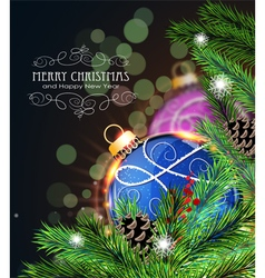 Blue and purple Christmas decorations vector image