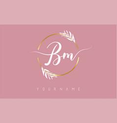 Bm b m letters logo design with golden circle vector