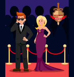 Bodyguard and celebrity flat cartoon characters vector