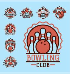 Bowling emblem and design element logotype vector