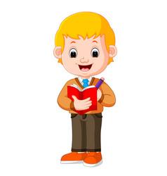 Boy holding pencil vector