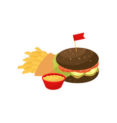burger french fries and sauce fast food dish vector image