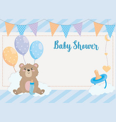 card teddy bear with party banner and pacifier vector image