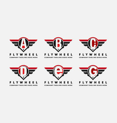 Cars logo wheel and wings with letter abcdefg vector