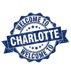 charlotte round ribbon seal vector image