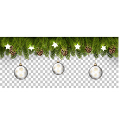 christmas holiday frame with branches tree vector image