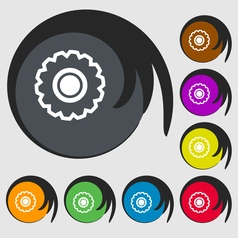 cogwheel icon sign Symbol on eight colored buttons vector image