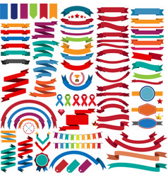 Collection of retro ribbons and labels vector