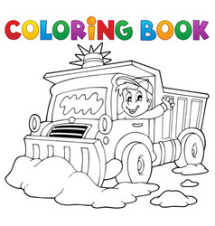 Coloring book snow plough vector