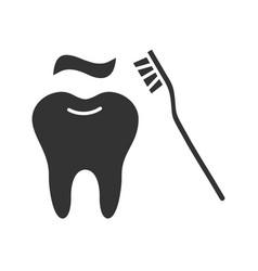 correct teeth brushing glyph icon vector image