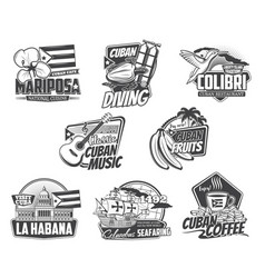 cuba icons havana travel culture and food vector image