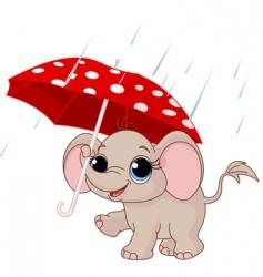Cute baby elephant under umbrella vector