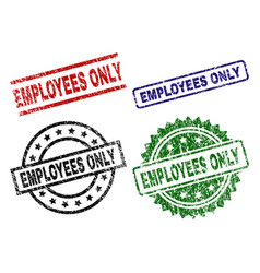 damaged textured employees only seal stamps vector image