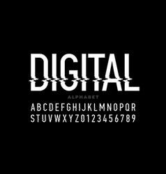 digital distortion style font capital letters and vector image