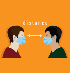 Distance between people during a pandemic vector