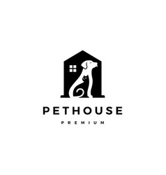 Dog cat pet house home logo icon negative space vector