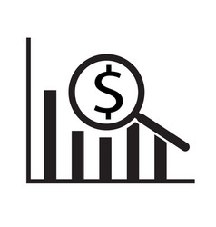 dollar analysis bars chart on white background vector image