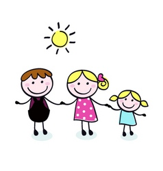Doodle cartoon family vector