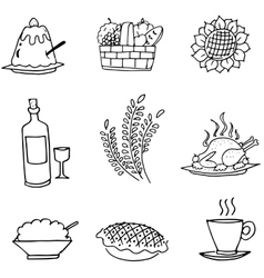 Doodle set food party Thanksgiving vector image