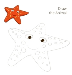 Draw fish animal starfish educational game vector