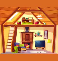 Duplex cross section - mansarda living vector