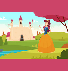 fairytale background pretty young princess vector image